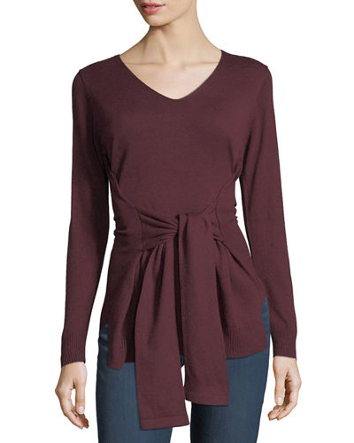 Tie-Front V-Neck Sweater