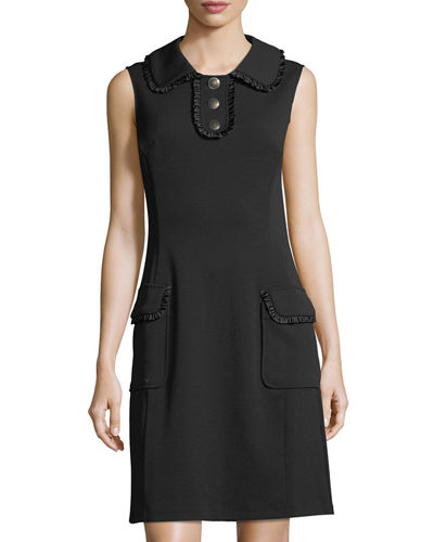 Ruffle-Trim Knit Sheath Dress