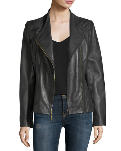 Lambskin Asymmetric-Zip Jacket