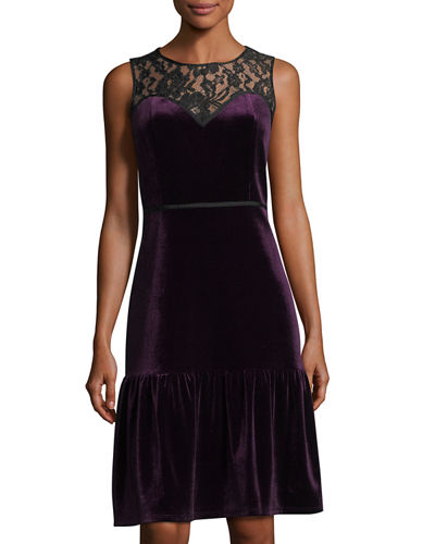 Velvet and Lace Sweetheart Illusion Dress