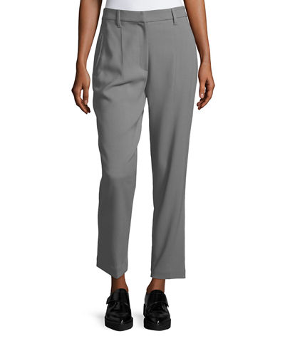Wool-Blend Cropped Pants