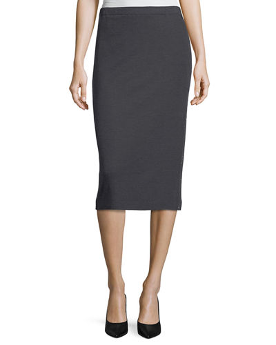 Pull-On Monili-Beaded Pencil Skirt