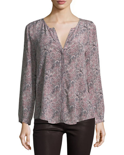 Purine Animal-Print Silk Blouse