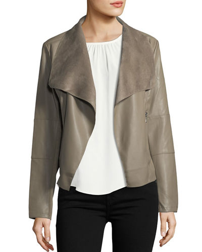 Open-Front Faux Leather Jacket