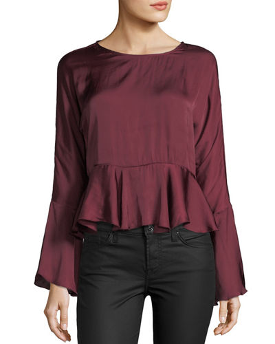 Satin Bell-Sleeve Self-Tie Peplum Top