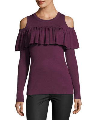 COLD-SHOULDER RUFFLE SWEATER