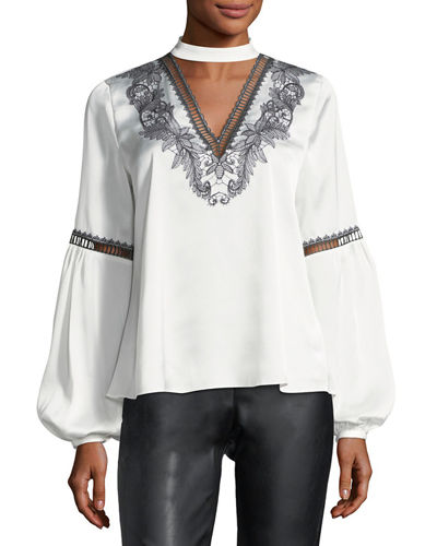 Embroidered Balloon-Sleeve Blouse