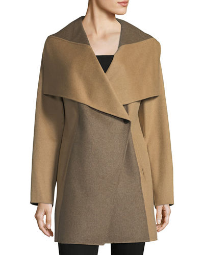 Two-Tone Wool-Blend Topper Coat