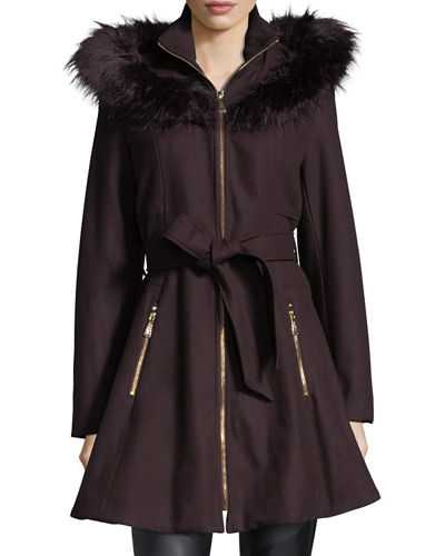 Faux Fur-Trimmed Wool Car Coat