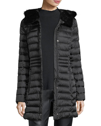 Faux-Fur-Trim Puffer Jacket