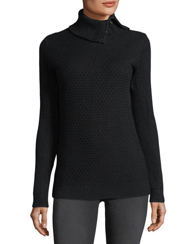 Honeycomb-Knit Zip-Neck Sweater
