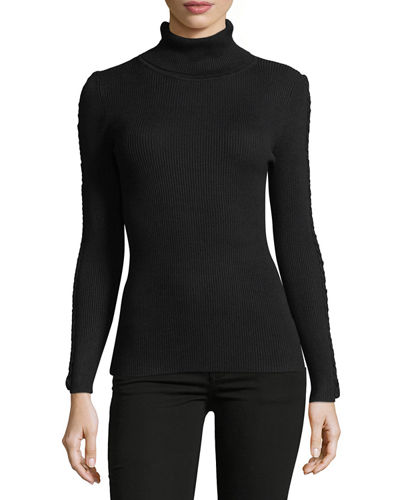 Ribbed Turtleneck Sweater w/Braided Trim