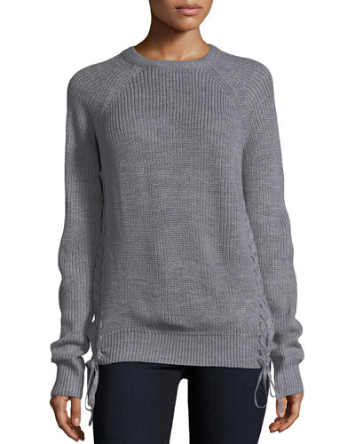 Side-Tie Ribbed Sweater