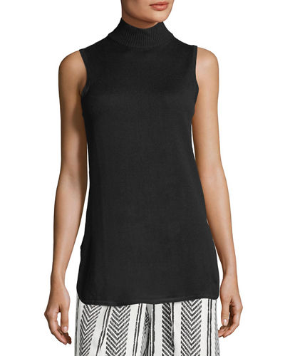 Side-Slit Mock-Neck Sleeveless Sweater