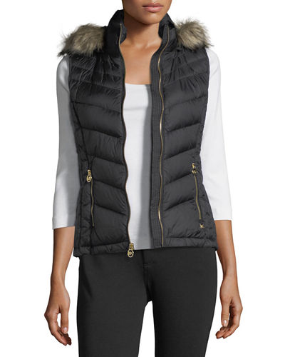 Faux-Fur-Trim Hooded Down Vest
