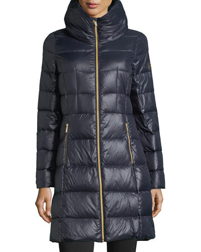Long Channel-Quilted Puffer Jacket