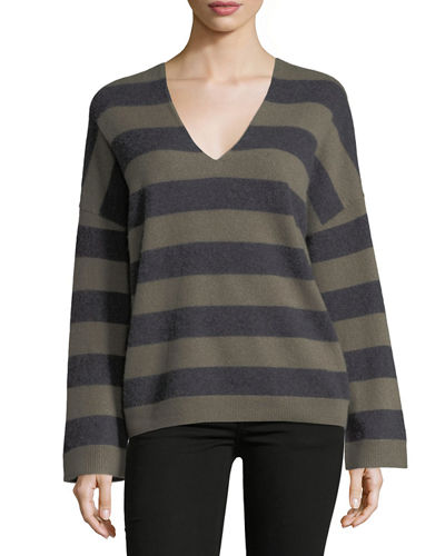 Cashmere Striped V-Neck Sweater
