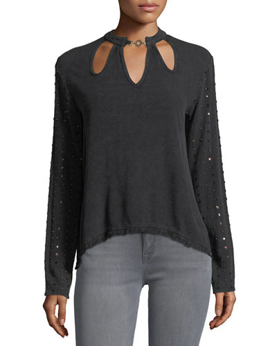 Cutout Sequined Long-Sleeve Top