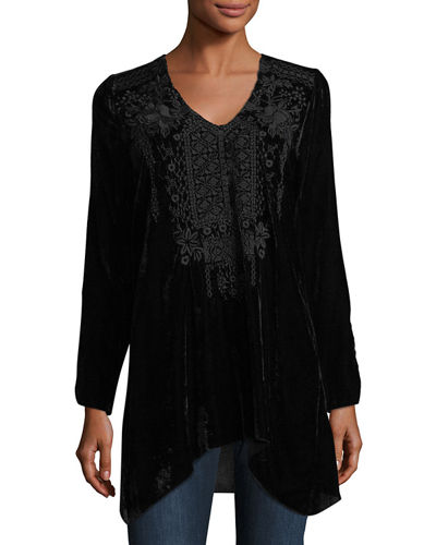 Sassi Embroidered Velvet Tunic
