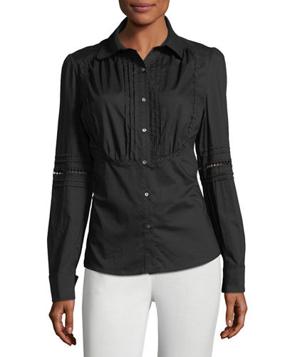 Pleat-Bib Button-Down Blouse