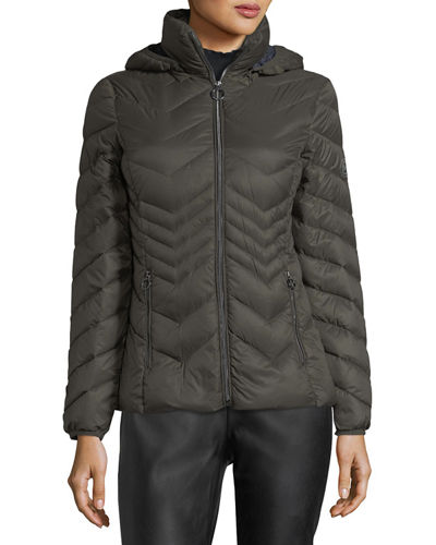 Chevron-Quilted Packable Puffer Jacket
