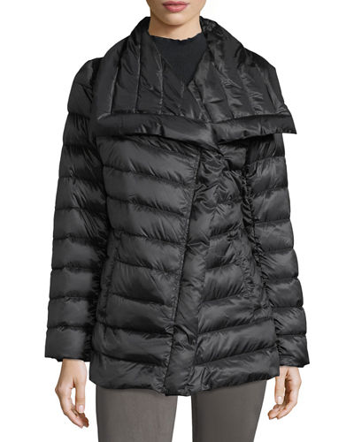 Asymmetric-Collar Mid-Weight Puffer Jacket