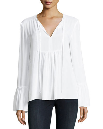 Ruffle-Sleeve Peasant Top