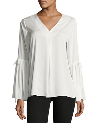 BELL-SLEEVE CREPE DE CHINE BLOUSE
