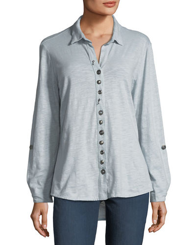Eastwood Heathered Button-Down Top