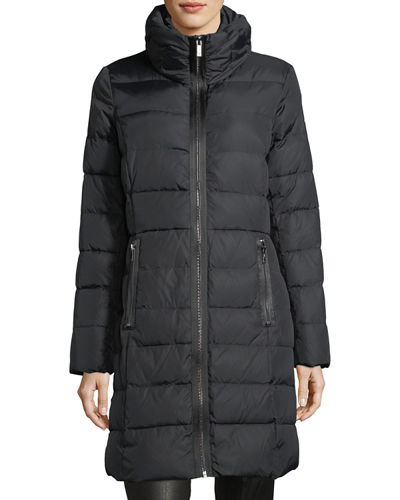 Pillow-Collar Quilted Down Jacket