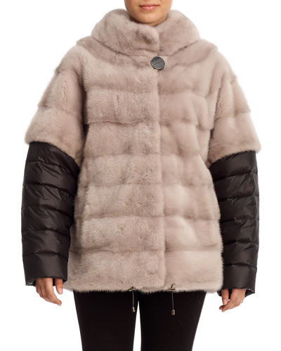 Mink Fur Batwing-Sleeve Jacket