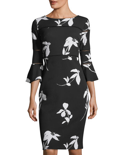 Bell-Sleeve Floral-Print Sheath Dress