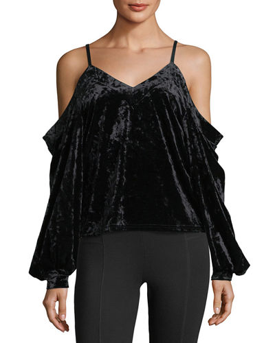 Cold-Shoulder Crushed Velvet Blouse