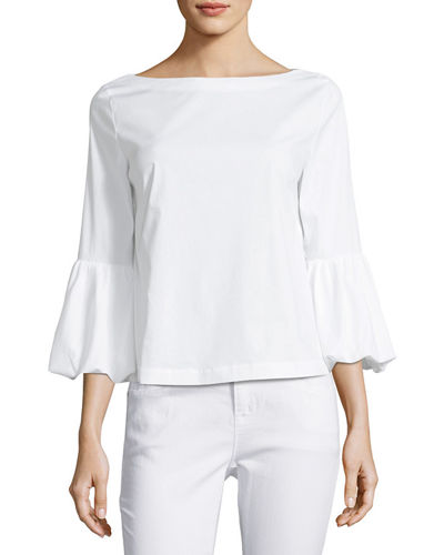 Balloon-Sleeve Poplin Blouse
