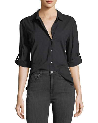 Rib-Panel Button-Front Blouse