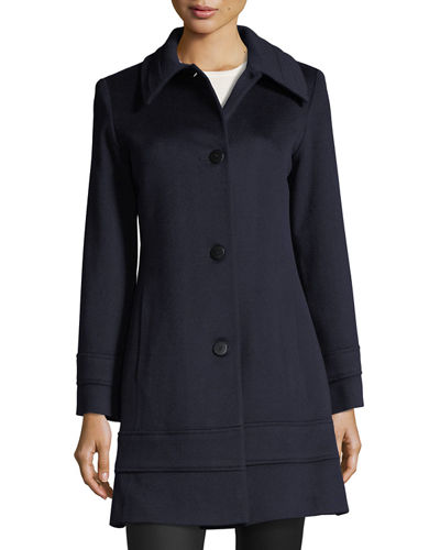 Fleurette Studio Single-Breasted Fitted Wool Coat
