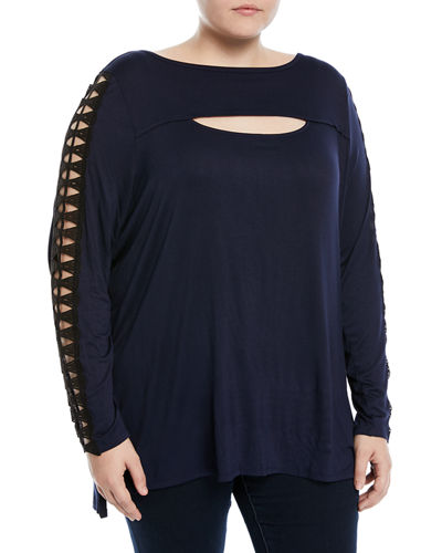 Lace Ladder-Sleeve Tee, Plus Size