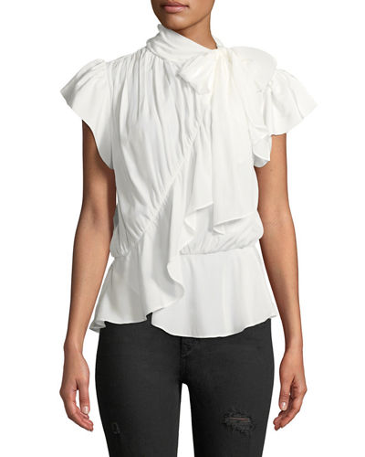 Ruffled Cap-Sleeve Tie-Neck Blouse