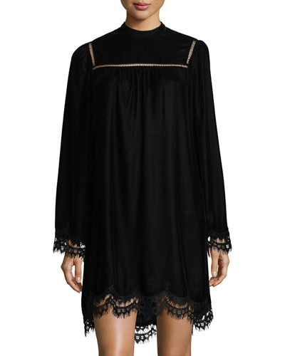 High-Neck Velvet Dress with Lace Hem