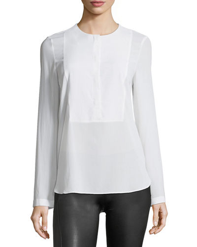 Long-Sleeve Silk-Blend Blouse