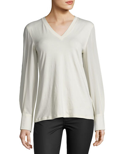 Silk-Sleeve Cotton-Blend Tee