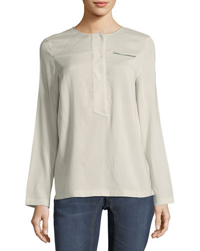 Stretch Silk Monili-Trim T-Shirt