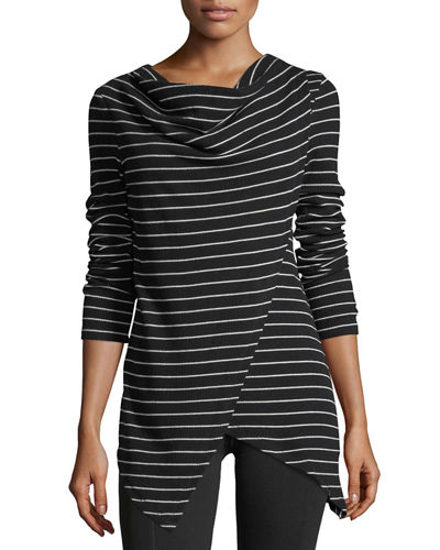 Draped Striped Thermal Tunic