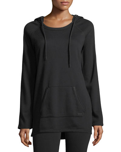 Mesh-Hooded Fleece Pullover