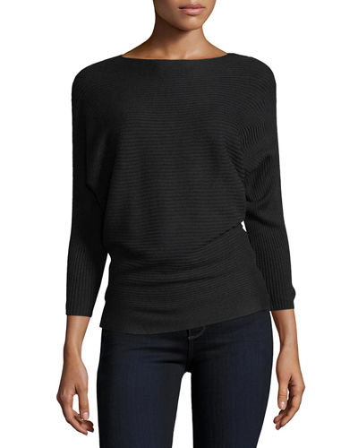 Ribbed Dolman-Sleeve Sweater
