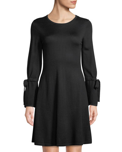 Tie Bell-Sleeve Sweater Dress