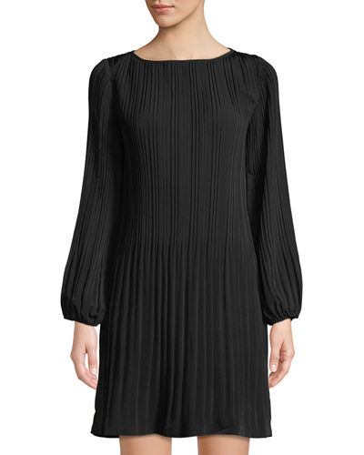 Long-Sleeve Pleated Shift Dress