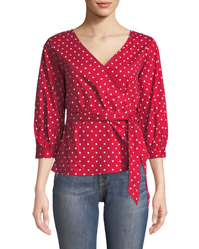 Faux-Wrap 3/4-Sleeve Blouse