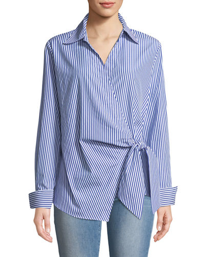 Faux-Wrap Long-Sleeve Striped Blouse