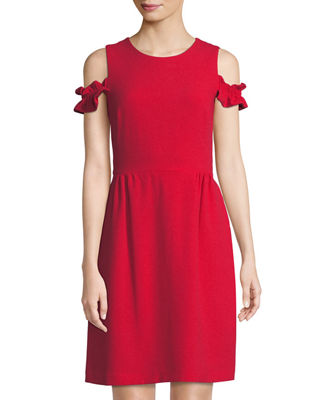 Cole Shoulder Ruffle Sleeve Mini Dress by Tahari Asl